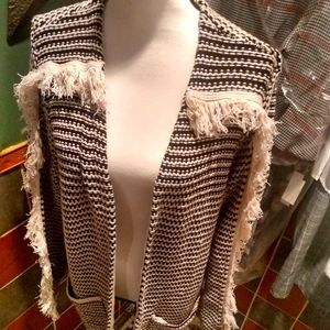 Knoxx Rose Bohemian tassel sweater cardigan